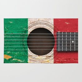 Old Vintage Acoustic Guitar with Italian Flag Rug