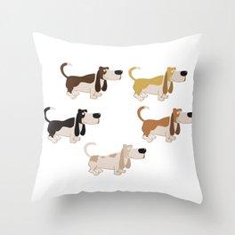 Basset Hound Colors Illustration Throw Pillow