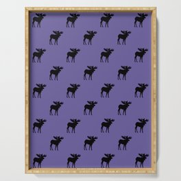 Bull Moose Silhouette - Black on Ultra Violet Serving Tray