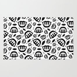 Piano smile pattern in black&white Rug