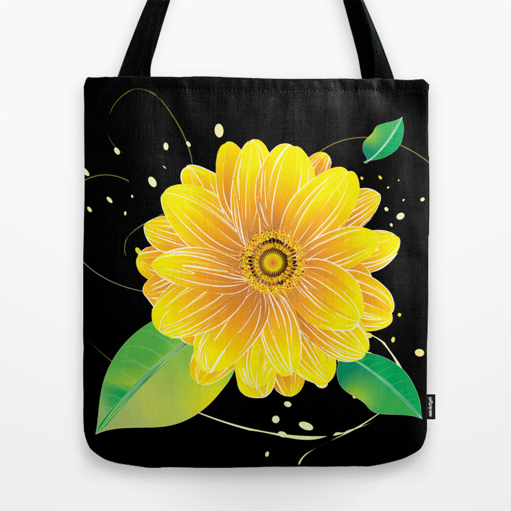 Helianthus Midnight - The Color Of Vitality, Intel… Tote Bag by Shiho TBG8834431