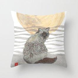 CAT, Moon, Mixed Media Throw Pillow