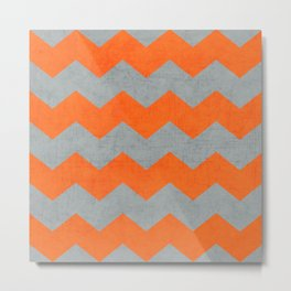 chevron- gray and orange Metal Print