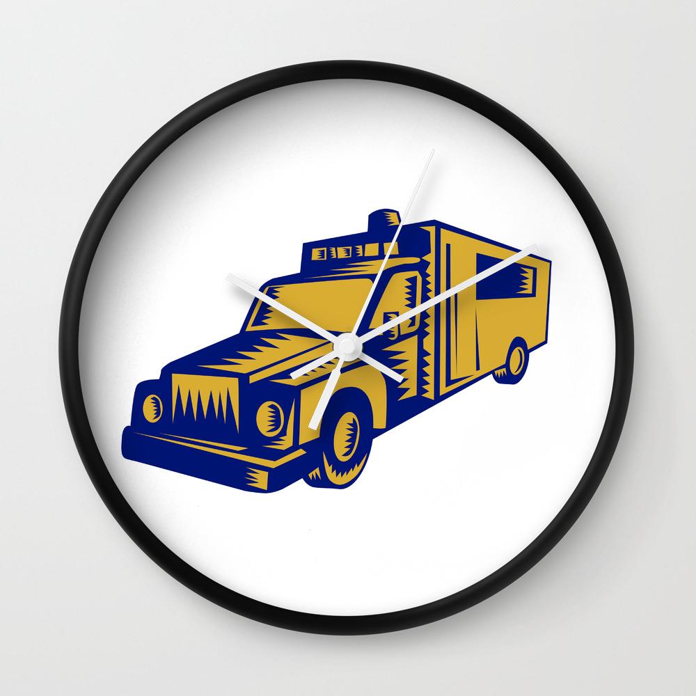 Ambulance Emergency Vehicle Truck Woodcut Wall Clock