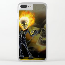 Flaming Skullface v2 Clear iPhone Case
