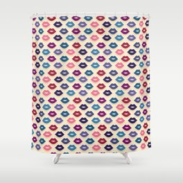 Retro Lips Pattern Shower Curtain