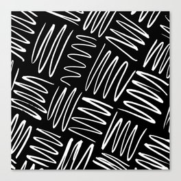 Squiggles - white on black Canvas Print