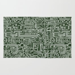 Circuit Board // Green & White Rug