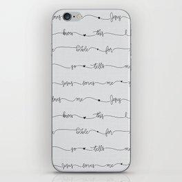 Jesus Loves Me - grey handwritten lyrics iPhone Skin
