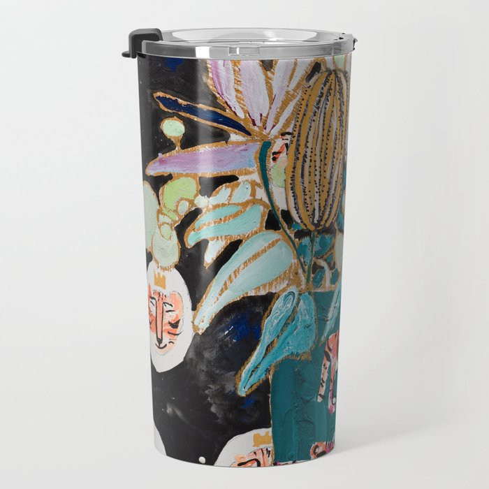 Dark Floral Still Life with Banksia Pods and Tigers Travel Mug