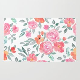 Amelia Floral in Pink and Peach Watercolor Rug