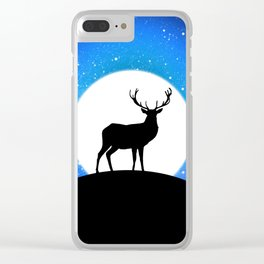 Deer and Moon Clear iPhone Case