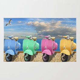 Vespa scooter in bright colors Rug