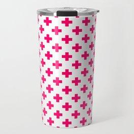 Hot Neon Pink Crosses on White Travel Mug