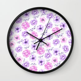 Modern hand painted purple pink watercolor floral pattern Wall Clock