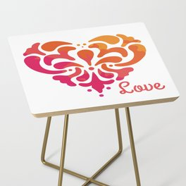 Rainbow Watercolor Damask Heart Side Table