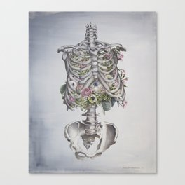 Floral Anatomy Skeleton Canvas Print