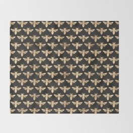 Honey Bees (Black) Throw Blanket