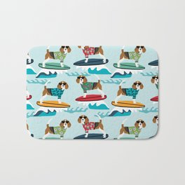 Beagle surfing pattern cute pet gifts dog lovers beagles Bath Mat