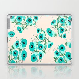 Teal Flowers Laptop & iPad Skin