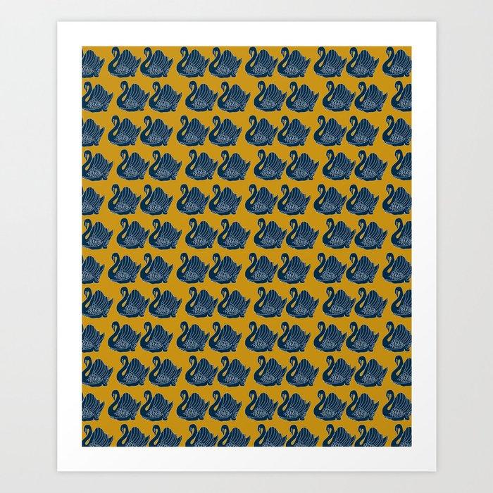 Crown Lynn Swans (Mustard) Art Print