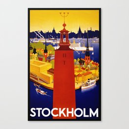 Vintage Stockholm Sweden Travel Canvas Print