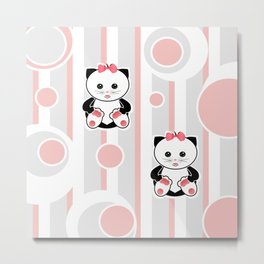 Little kittens. The pattern for children. Metal Print