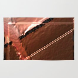 geometrical abstrac art copper colored metal texture Rug