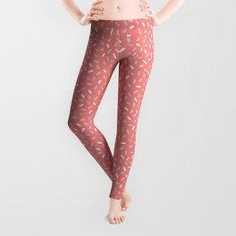 Coral Sprinkle Confetti Pattern Leggings