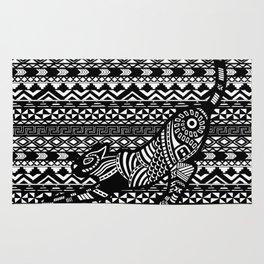 Black & White Tribal Cat on pattern Rug