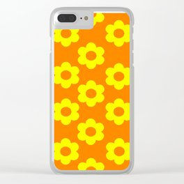 Yellow/Orange Flowers Clear iPhone Case