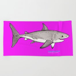 Great White Shark in Pink Beach Towel