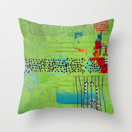 Red and Green Abstract Art Collage Throw Pillow