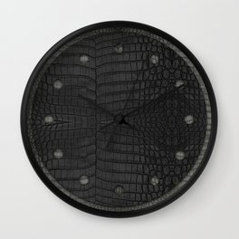 Black Crocodile Leather Print Wall Clock