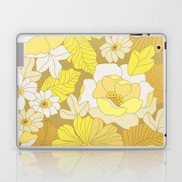 Yellow, Ivory & Brown Retro Flowers Laptop & iPad Skin