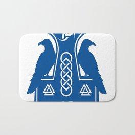 Blue Thor's Hammer With Ravens Bath Mat
