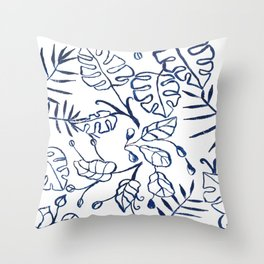 Tropical Plant Boho Chinoiserie Blue and White Throw Pillow