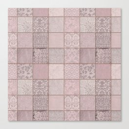 Romantic Pink Damask Patchwork Pattern Canvas Print