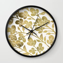 Cherry Blossoms – Gold Palette Wall Clock