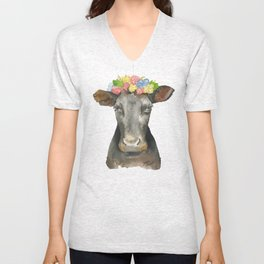 Black Cow with a Floral Crown Unisex V-Neck