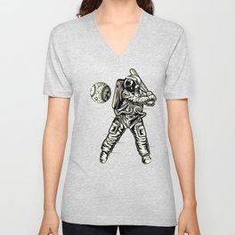 Space Baseball Astronaut Unisex V-Neck