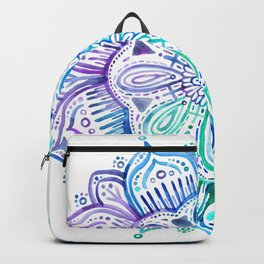 Iridescent Aqua and Purple Watercolor Mandala Backpack