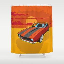 Red Camaro at Sunset Shower Curtain
