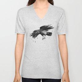 Raven Watercolor Bird Painting Black Animals Unisex V-Neck
