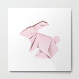 Pink origami bunny Metal Print