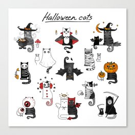 Halloween Cats In Terrible Imagery Canvas Print