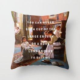 a book long enough Throw Pillow