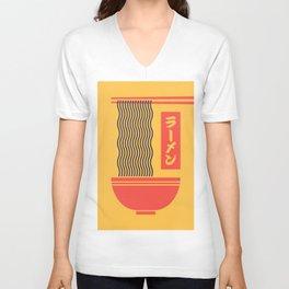 Ramen Japanese Food Noodle Bowl Chopsticks - Yellow Unisex V-Neck