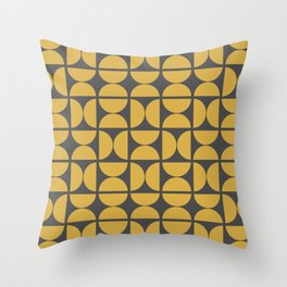 Scandinavian Half Circles (Spicy Mustard, Charcoal Black) Throw Pillow