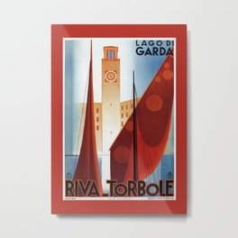 Art deco vintage Italian travel Riva Torbole Lake Garda Metal Print